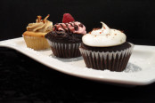 Guinness chocolate, maple bacon and chocolate raspberry cupcakes.