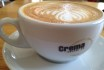 A latte from Crema Coffee Co., a local favourite.