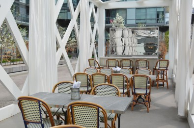 Colette's patio is unconventional, located inside a structured pavilion. Photo by Jennifer D'Agostino.
