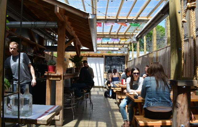 The backyard patio at Grand Electric. Photo by Jennifer D'Agostino