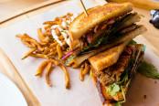 Pork 3 Ways Club Sandwich at Inspire