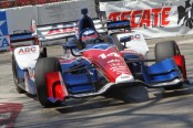 Takuma Sato navigates the Turn 11 hairpin during practice for the Toyota Grand Prix of Long Beach
